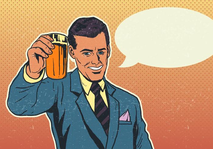 Vector Cheers Businessman With Pint of Beer