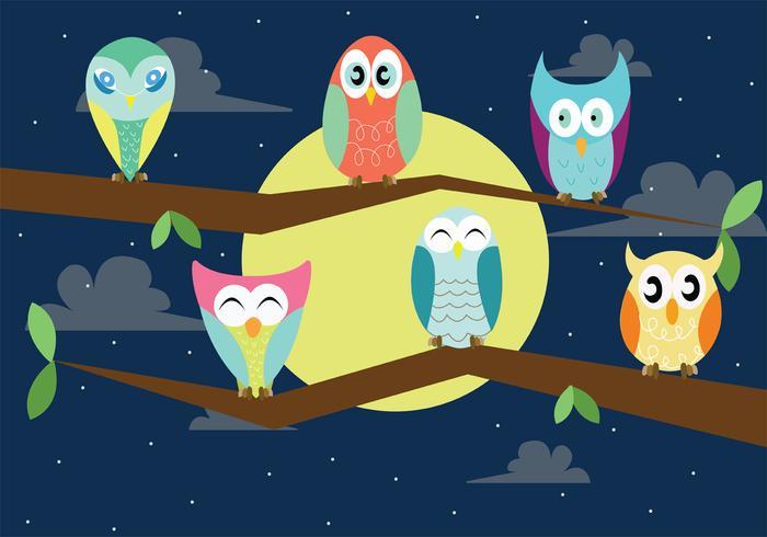 Cute Baby Buho Vectors at Night