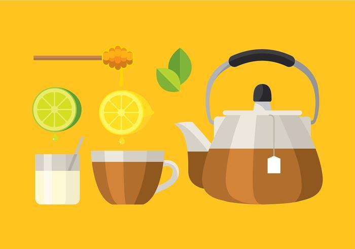 Teapot Set Glass Vector