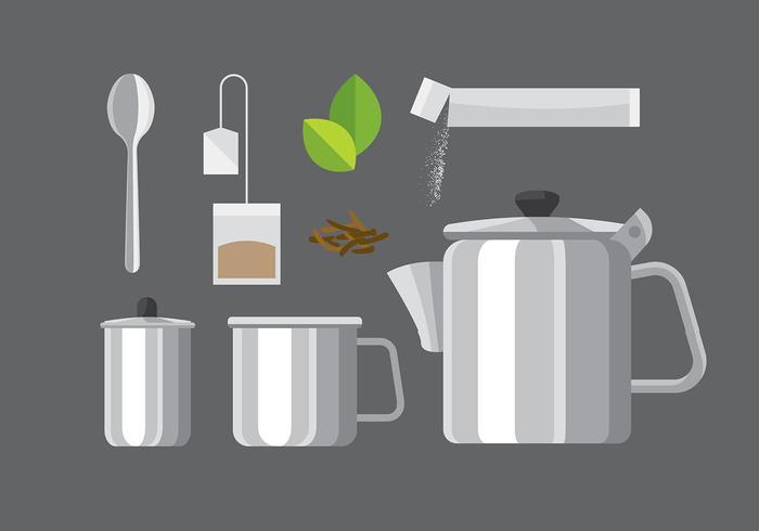 Teapot Set Steel Vector
