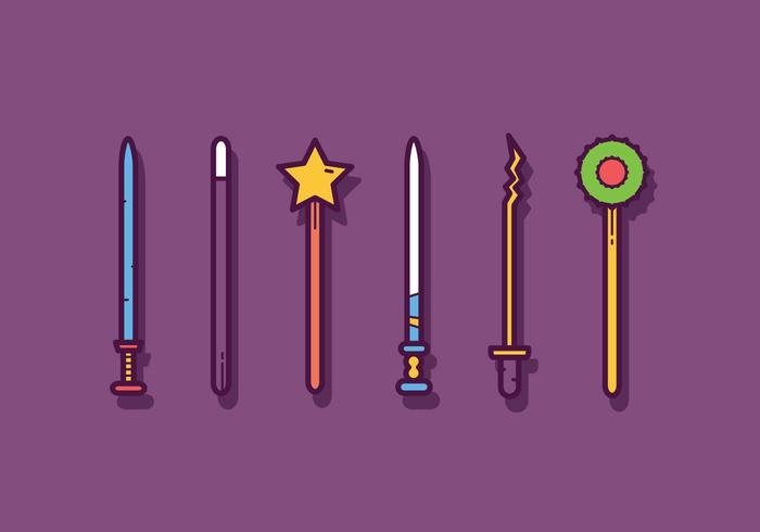 Grátis Magic Stick e Wand Vectors