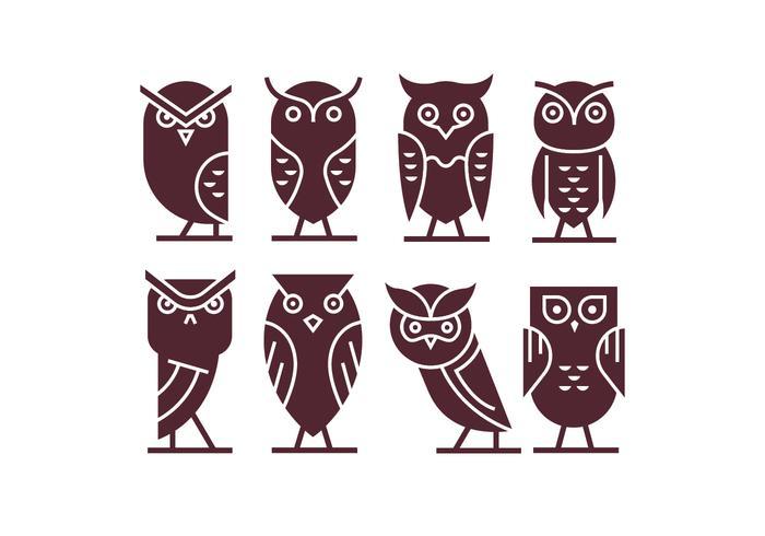 Conjunto de coruja ícone vetores