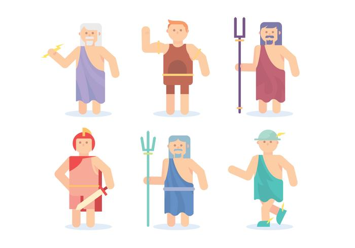 Flat Hercules and Greek God Vectors