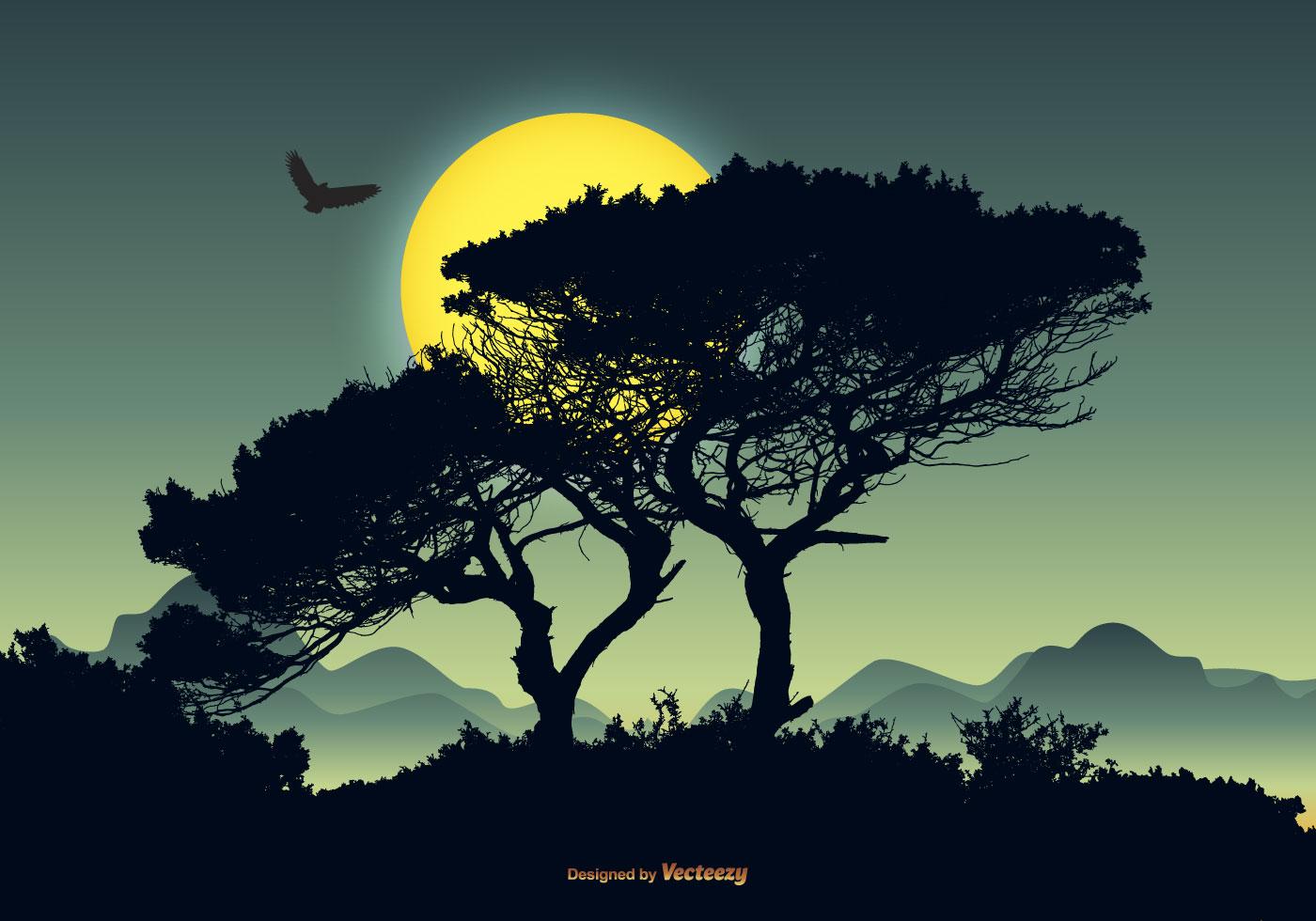 Town Landscape Vector Illustration: Beautiful Vector Landscape Scene