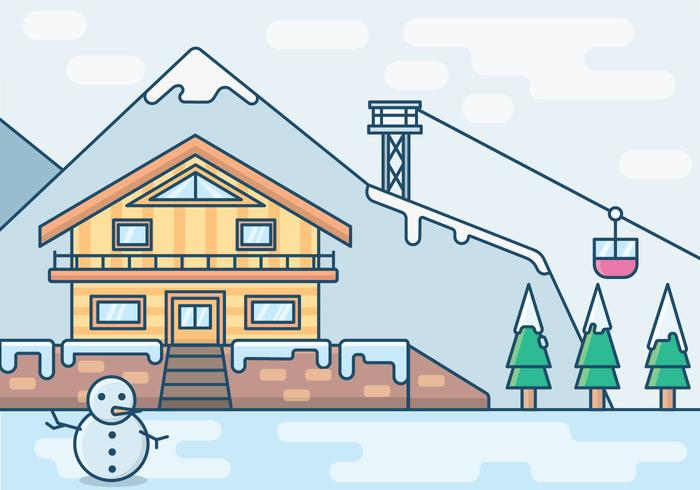 An Illustration of a Vacation Resort in Winter