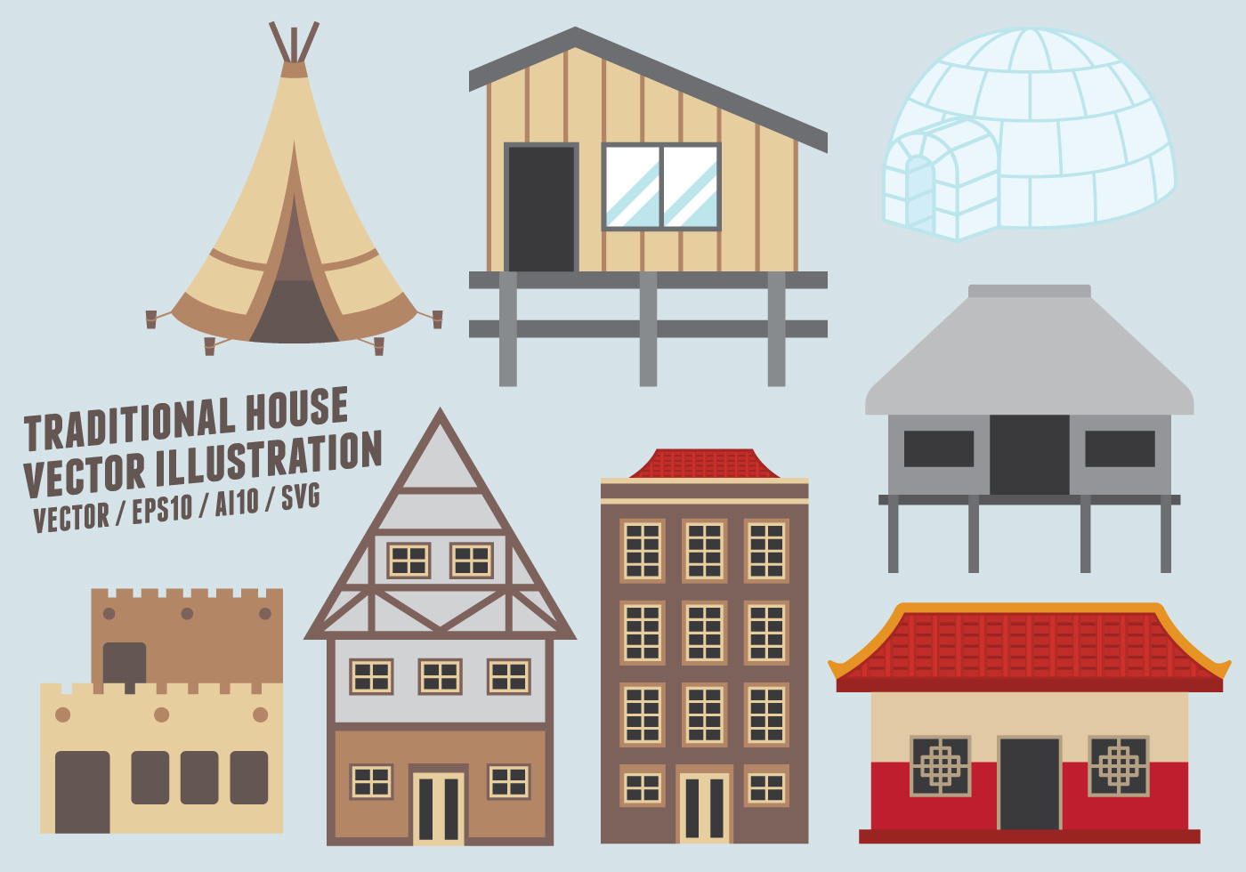 Traditional House Vector Illustration Download Free