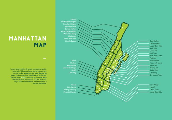 Green Manhattan Map Vector