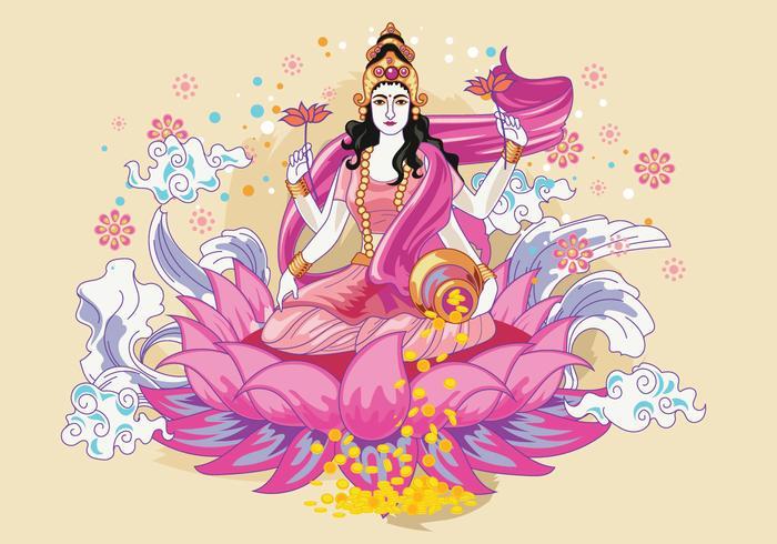 Pink & Flowery Goddess Lakshmi Vector