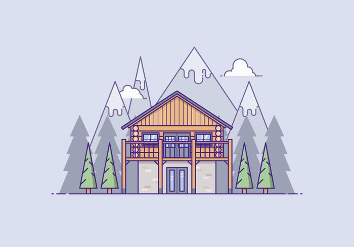 Wooden House In Front Of A Mountain