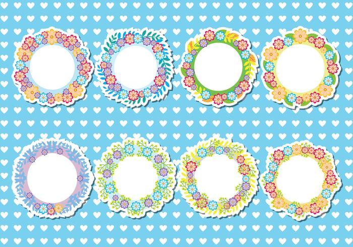 Funky Floral Frames Vector
