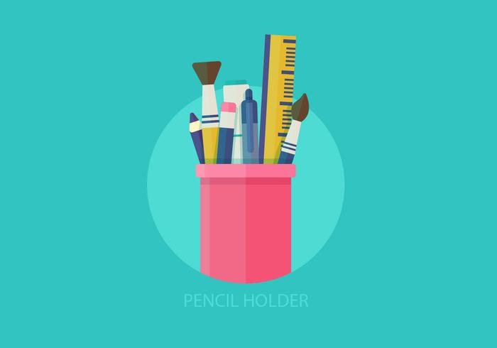 Pennenhouder Flat Vector Illustration