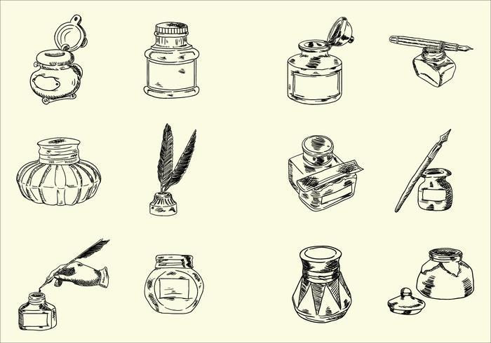 Hand Drawn Sketchy Vecteurs Jar d'encre