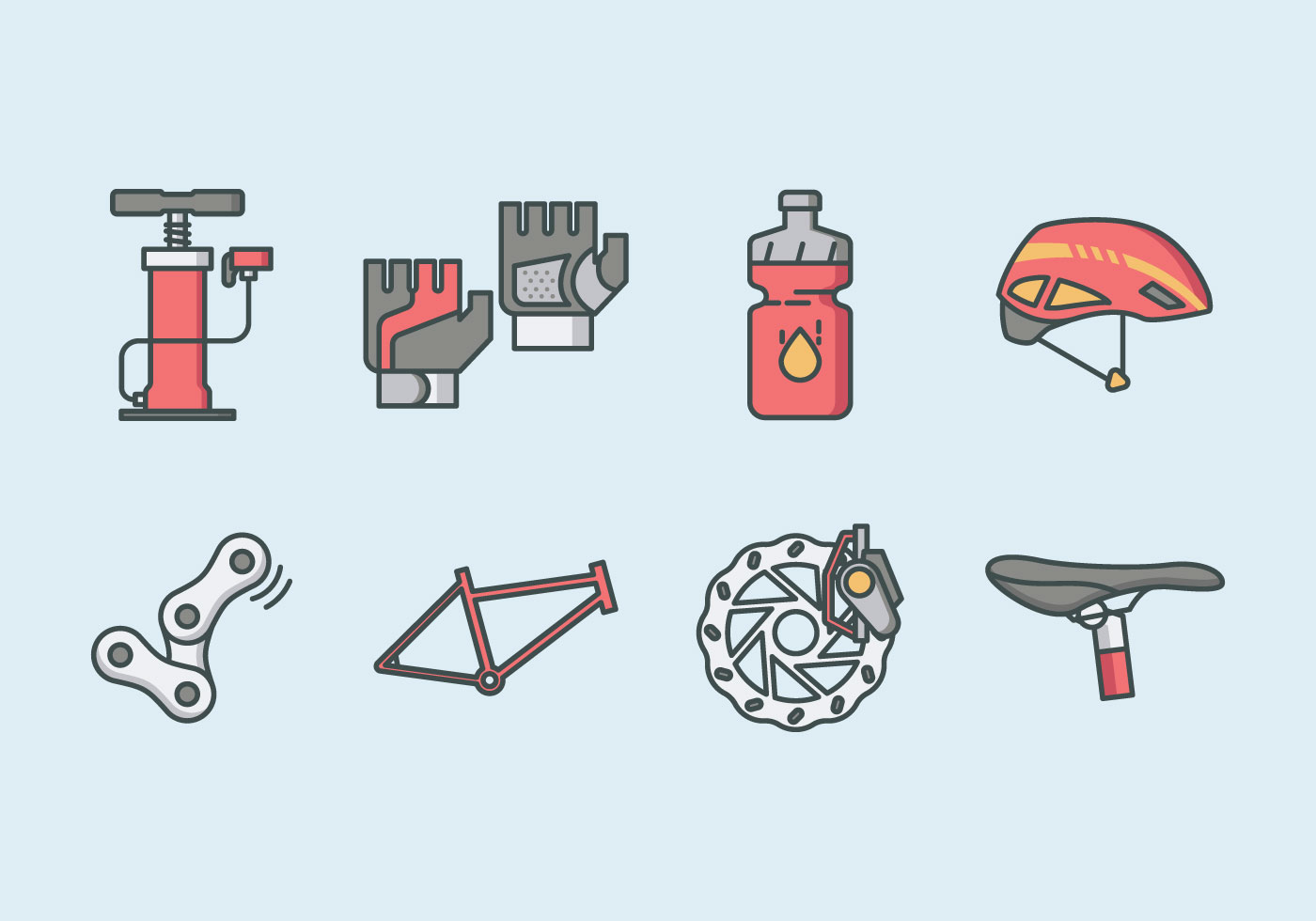 bicycle parts and accessories icon pack download free