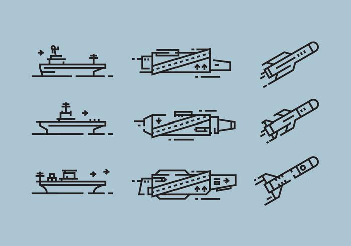 Aircraft Carrier and Missile Linear Icon Vectors