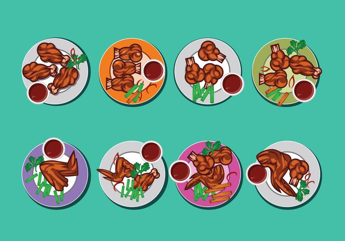 Buffalo Wings Vector Collection on Top View