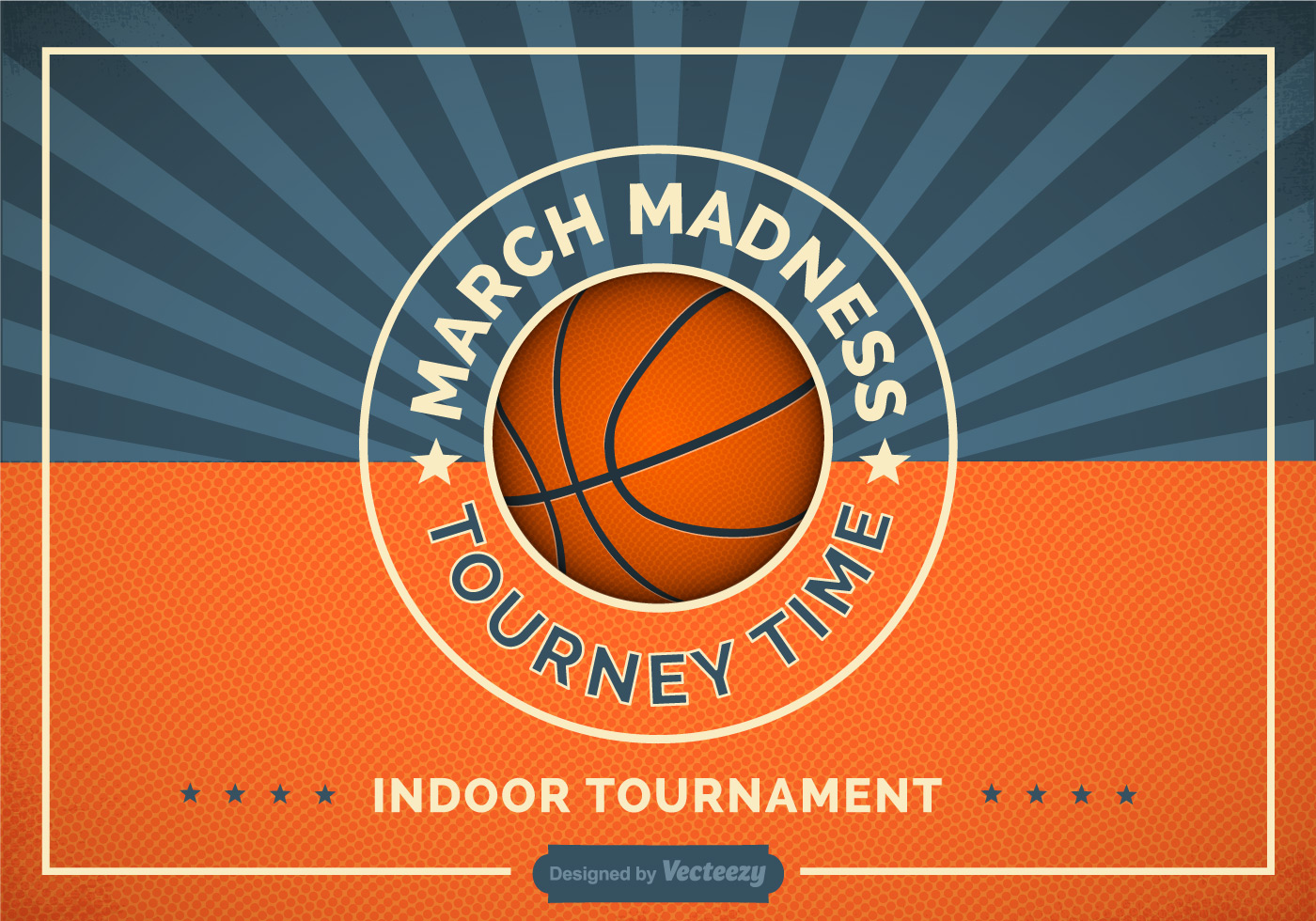 Free Basketball Madness Vector Retro Poster Download