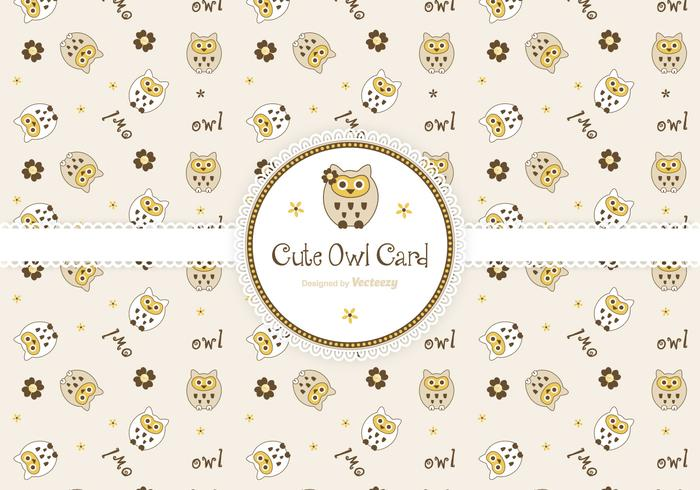 Cute Owls Greeting Card Vector
