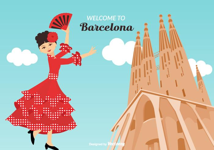 Willkommen in Barcelona Vector Illustration