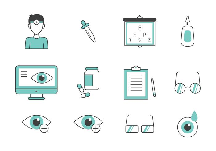 Teal Thin Line Eye Doctor Icons