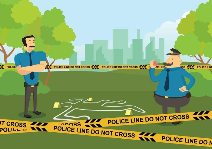 Free Police Line in Crime Scene Illustration