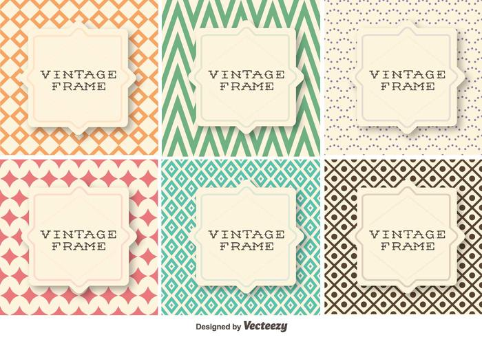 Vector Set Of Vintage Retro Patterns With Geometrical Shapes