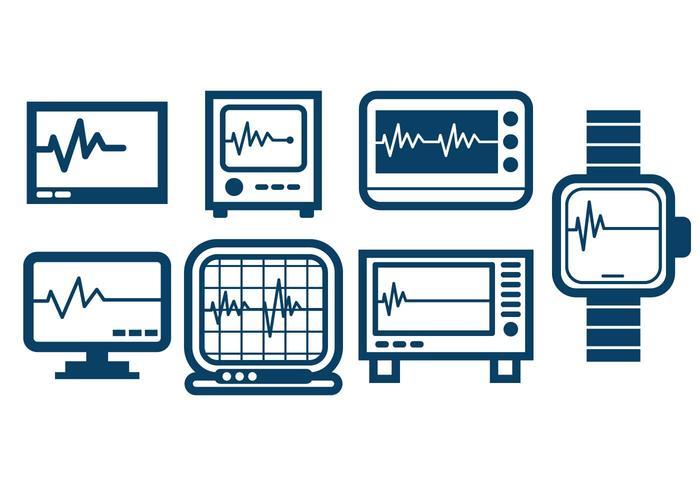 Monitor de corazón Esquema conjunto de iconos del vector