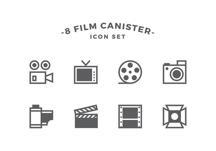 Film Canister Line Icon Set Vector