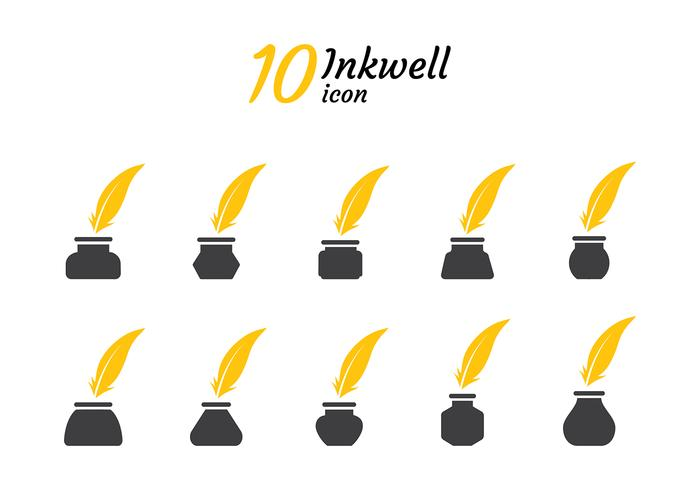 Inkwell Icon Silhouette Vector