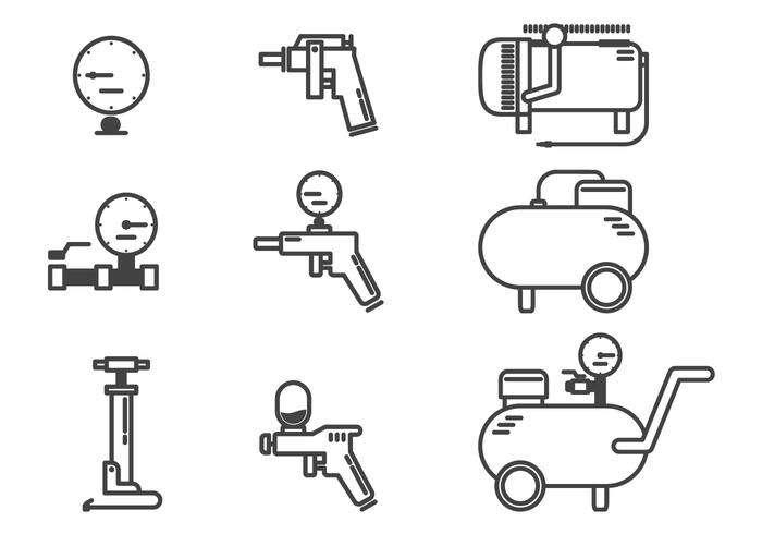 air compressor accessories icon vectors