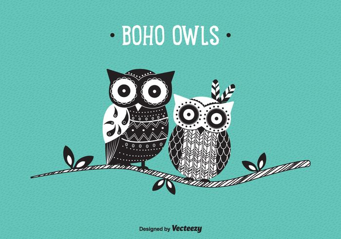 Cute Patterned Boho Owls Vector