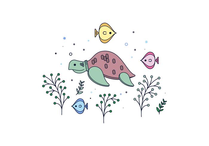 Freie Meeresschildkröte Vektor