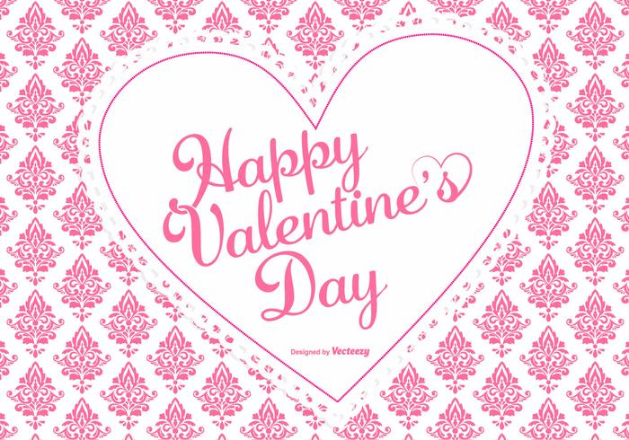 Cute Pink Damask Valentine's Day Background