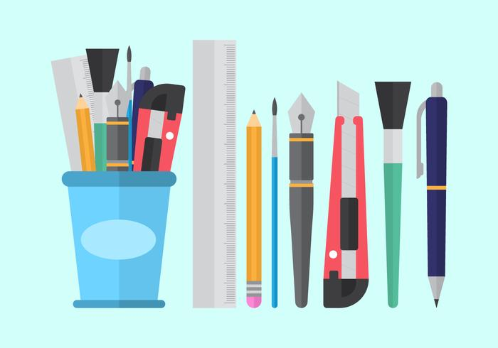 free pen holder and stationary vectors download free vector art