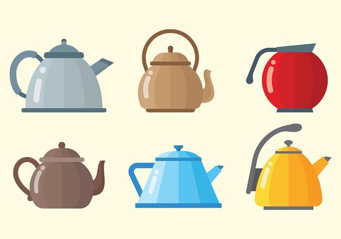 Modern Teapot Icons Vector