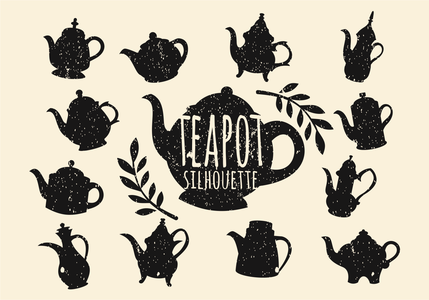Vintage Teapot Silhouette Vector - Download Free Vector ...