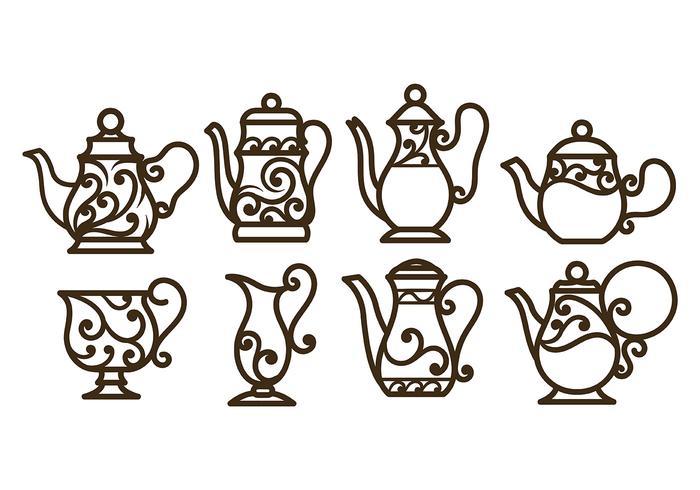 Swirly Dekorativa Teapot Vektorer