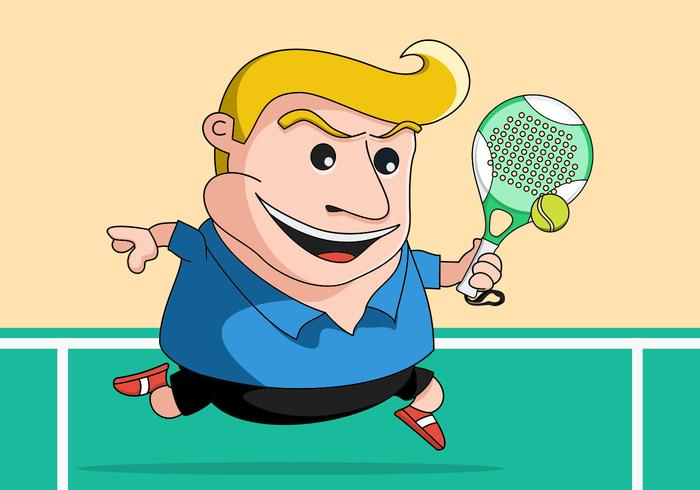 Squatty Tennis Player Vector