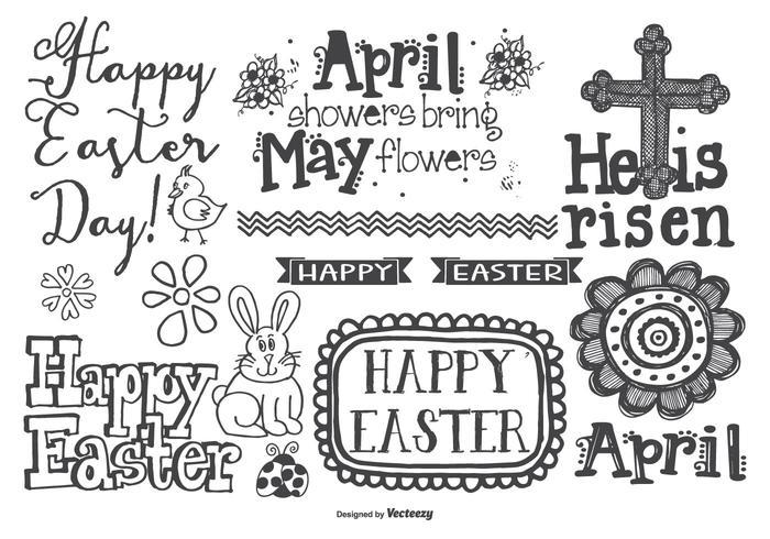 Leuke hand getrokken stijl Pasen Doodles