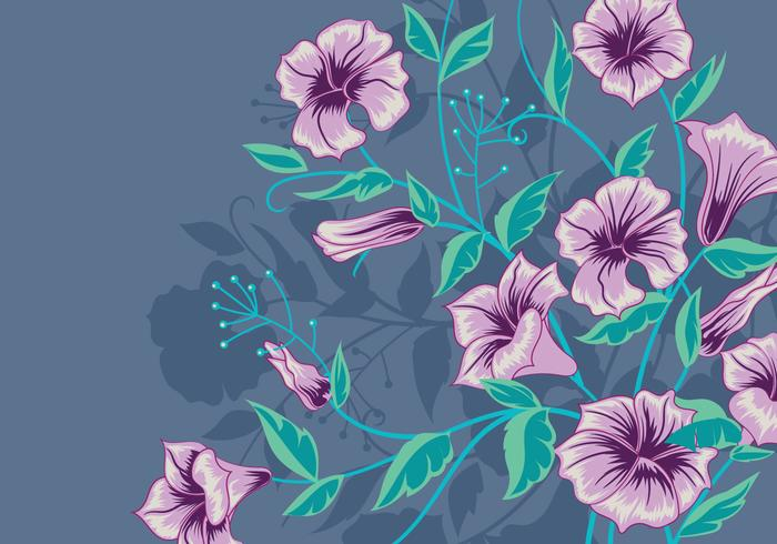 Vector Background with Purple Flowers