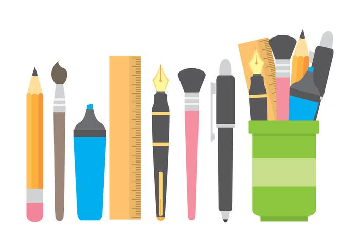 Pen Holder With Stationery Icons vector