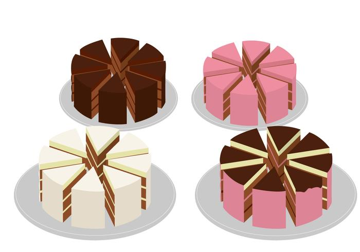 Eight Pieces Slice Cake vector
