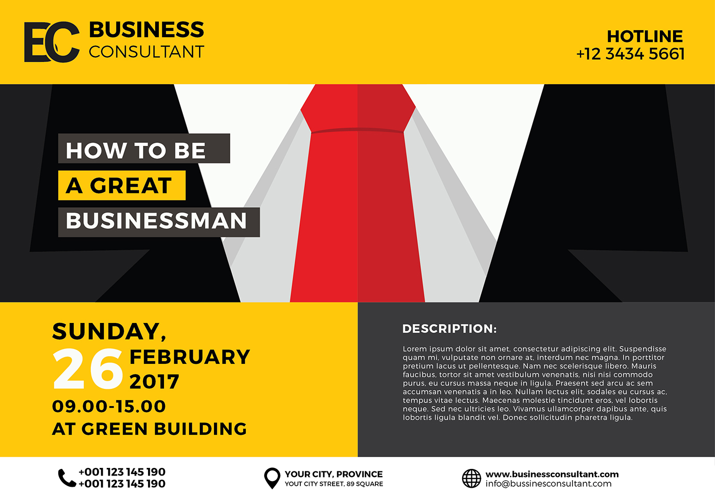 business seminar poster template vector download free. Black Bedroom Furniture Sets. Home Design Ideas