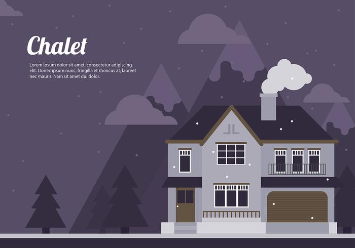 Chalet Night Cartoon Flat Vector