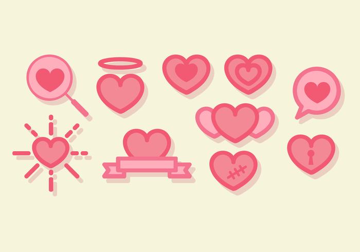 Cute Line Art Hearts Vector