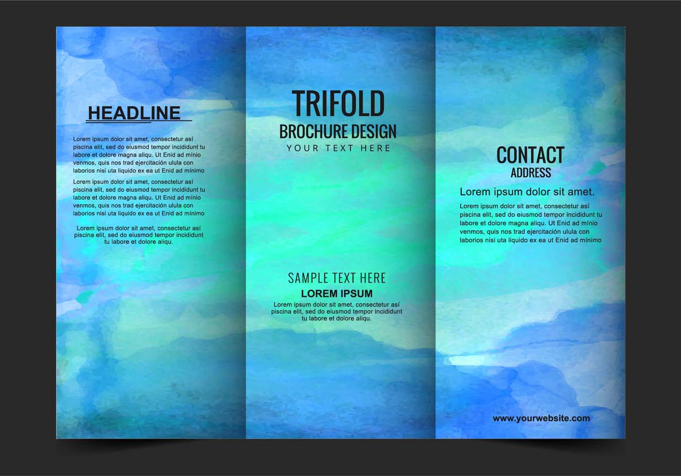 Vector modern trifold brochure template download free for Free templates for brochures tri fold