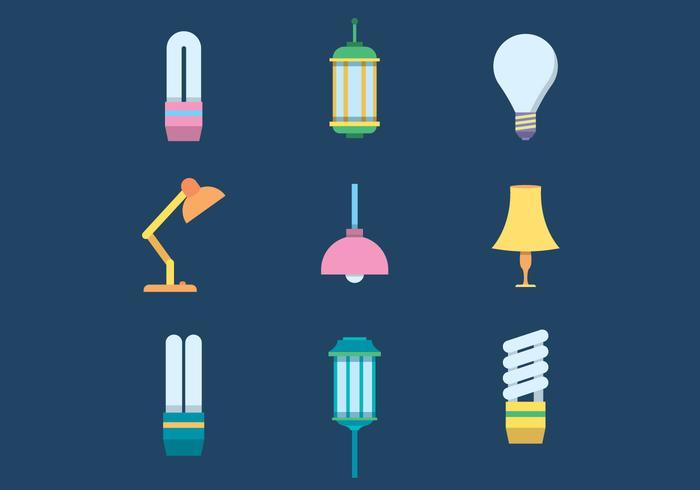 Las lámparas libres del vector