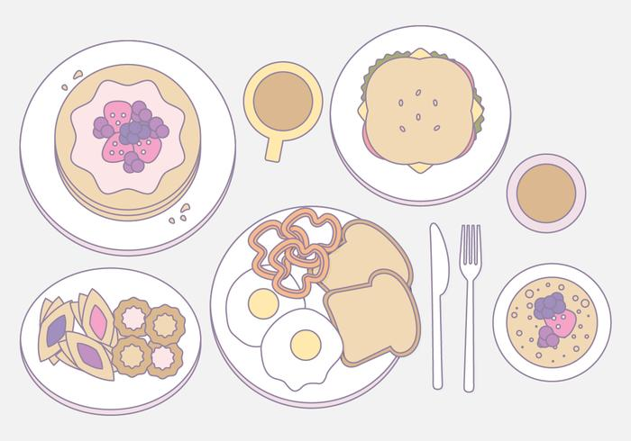 Vector Outlined Illustration of Breakfast Essentials