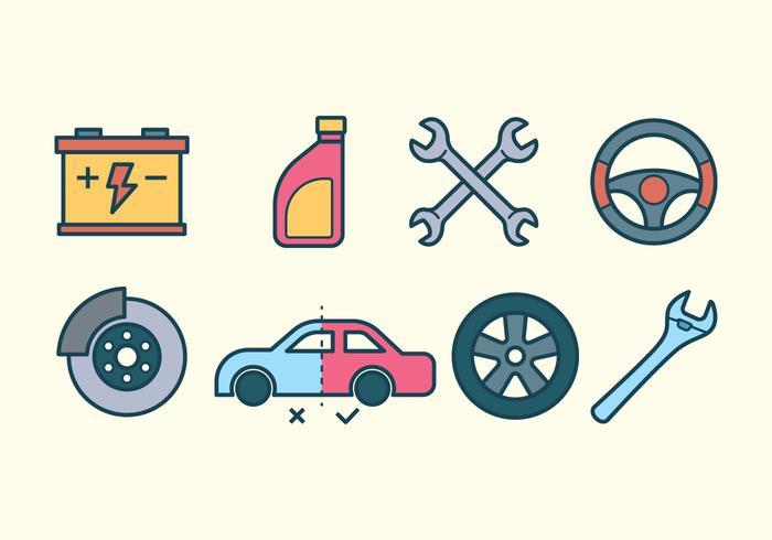 Auto reparations ikonuppsättning