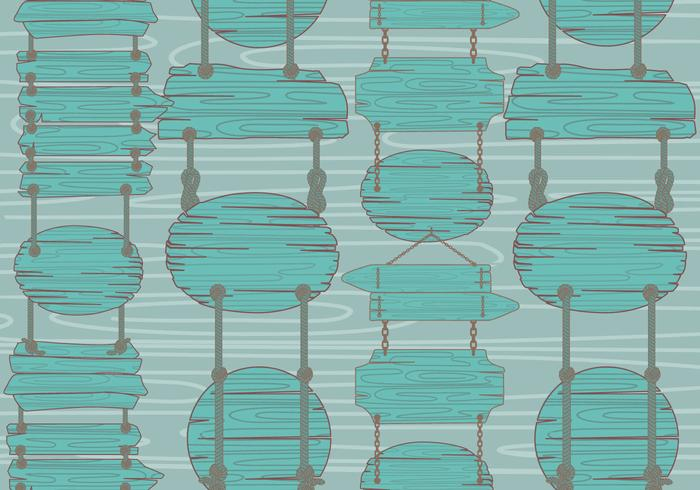 Teal Wood Sign Madeira Pattern Vector