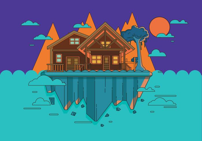 Mountain Chalet Scene Vector